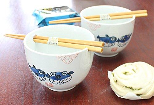 ラーメンボウル [Set of 2] Japanese Porcelain Ceramic Bowls w Chopsticks Ramen Soup Noodle Porridge Menudo Ramen Udon Pasta Cereal Ice cream Pho Rice Instant Noodle ~ We Pay Your Sales Tax (Puffer Fish) by We pay your sales tax (Image #4)