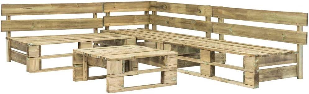 vidaXL Set de Muebles de Palés para Jardín de 4 Piezas Madera Conjunto Mobiliario Decoración Exterior Terraza Patio Piscina Césped Balcón Casa Verde: Amazon.es: Hogar