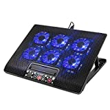 6 fans - Laptop Cooling Pad with 6 Fans, Laptop Cooler for MacBook Pro / Air HP NoteBook, 15.6 - 17 Inch, LCD Screen, 2 USB Ports - Adjustable Computer Cooler Stand with Removable USB Cable, Blue LED,Black