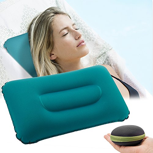 Camping Inflatable Pillow Portable Outdoor Compressible Ultralight Air Pillow Neck and Lumbar Support for Outdoor Hiking Travel Backpacking Airplane Car (Inflatable Pillow)