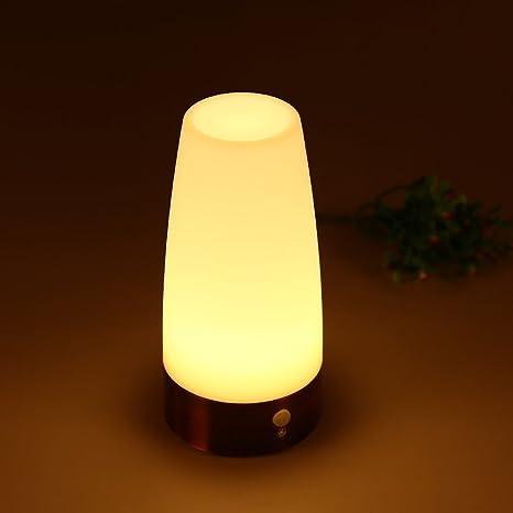 Qedertek Lámpara de Mesa Cilindra con Sensor de Movimiento de PIR Lámpara LED de batería Luz Nocturna Inalámbrica iluminación decrater lámparas ...