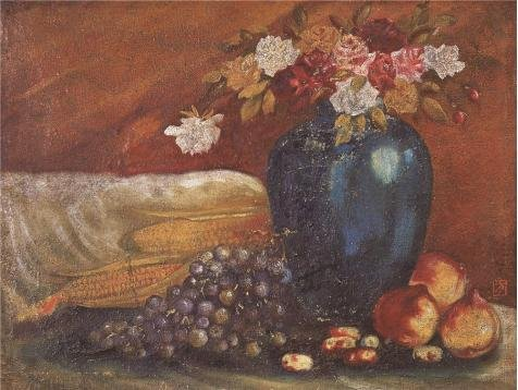 Oil Painting 'Art Reproduction Still Life With Flowers, Fruits And Corns' Printing On Perfect Effect Canvas , 8x11 Inch / 20x27 Cm ,the Best Garage Decor And Home Decoration And Gifts Is This Best Price Art Decorative Prints On (Secret Life Of Bees Dvd)