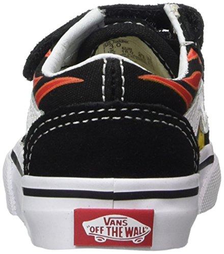 Vans Old Skool V Suede, Zapatillas Unisex Niños Varios Colores (Black/flames)