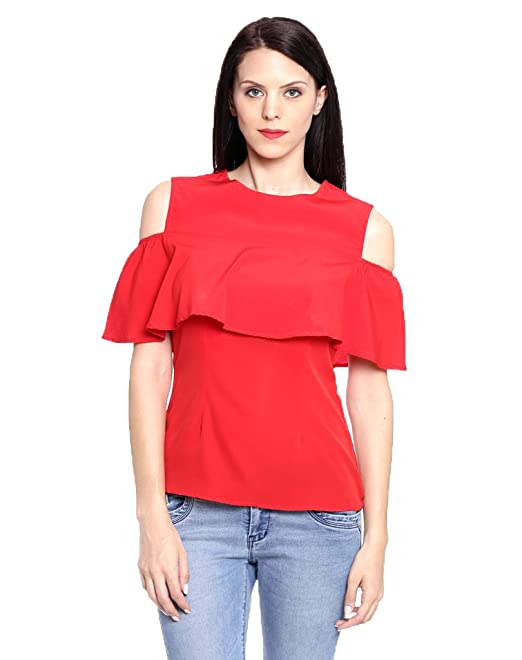 6f76783de8b461 Aashish Fabrics Red Cold Shoulder Ruffle Poly Cotton Women s Top   Amazon.in  Clothing   Accessories