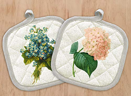 FlonzGift Pot Holders Set of Two with Vintage Prints Vintage Flowers Hydrangea Forget Me Not