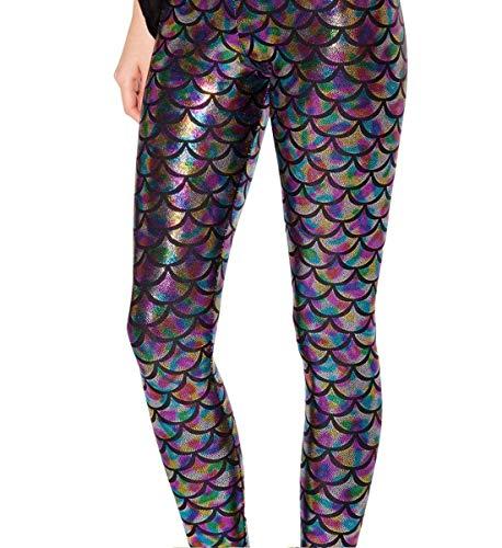 (Alaroo Women Bling Mermaid Print Scale Leggings Pants Rainbow)