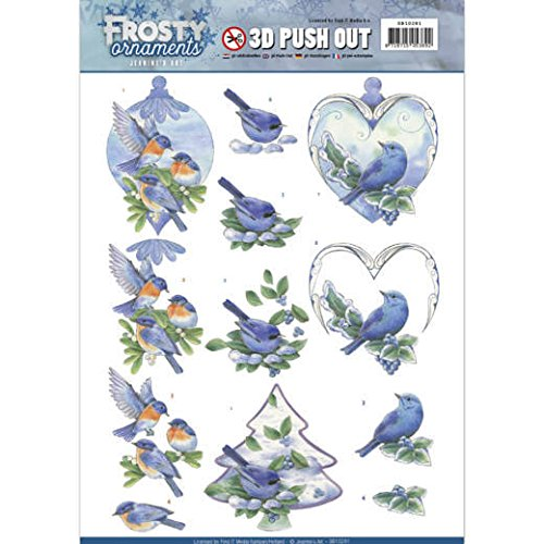 Jeanies Art - Frosty Ornaments- Blue Birds- 3D Push Out Toppers SB10281