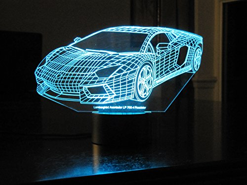 3D Lamborghini Lighting by Playtime 123 is a Great Nightlight with a Soft Glow for Kids. These Lights Great Christmas Gifts with a 1 Year Warranty.