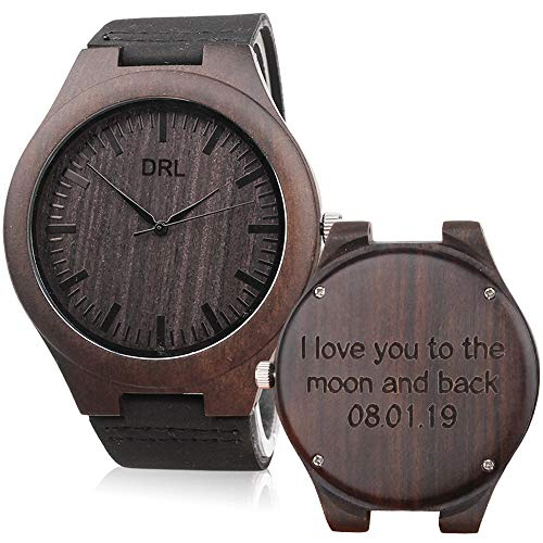 Custom Engraved Wooden Watches for Men Black Leather Band Double-Sided Engraved Personalized Anniversary Gifts for Men Husband Gifts ()