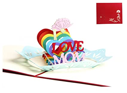 Amazon 3d Pop Up Love Mom Handmade Cards Creative Greeting