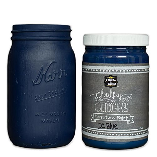 Chalk Finish Paint - Furniture & Cabinet Paint (32 oz, DC Blue) (Paint Gray Gaines Joanna)