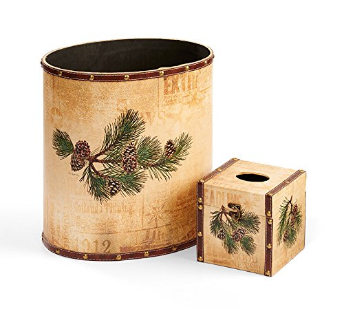 (Wild Wings Pinecone Wastebasket & Tissue Set by Persis Clayton Weirs)