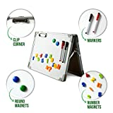 Ibex DryErase Desktop Whiteboard Easel: Magnetic Tabletop Double Sided Non Ghosting White Board, Portable Erasable Whiteboards with Paper Clip, Magnetic Numbers, 2 Color Markers with Eraser Tip