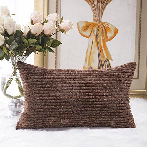 Rectangular Plush (HOME BRILLIANT Plush Striped Corduroy Velvet Rectangular Throw Pillow Case Cushion Cover for Chair, 30 x 50cm, Coffee Brown)
