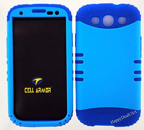 Blue Snap On and Blue Silicone Hybrid 2 in 1 Case Hard Cover Proctector for Samsung Galaxy S3, I9300, I747, SIII (Verizon, Sprint, T-Mobile, AT&T) (Samsung Galaxy S3 Verizon Lcd)
