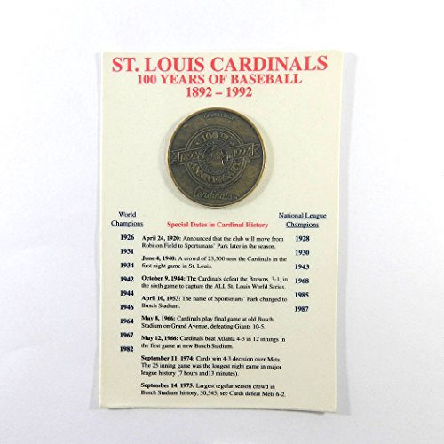 St Coin Louis (St. Louis Cardinals Centennial 1892-1992 Bronze Coin 100 Years of Baseball)
