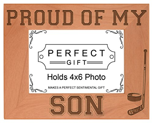 Nhl Frame Horizontal Picture (ThisWear Hockey Dad Mom Gift Proud My Son Sports Natural Wood Engraved 4x6 Landscape Picture Frame Wood)