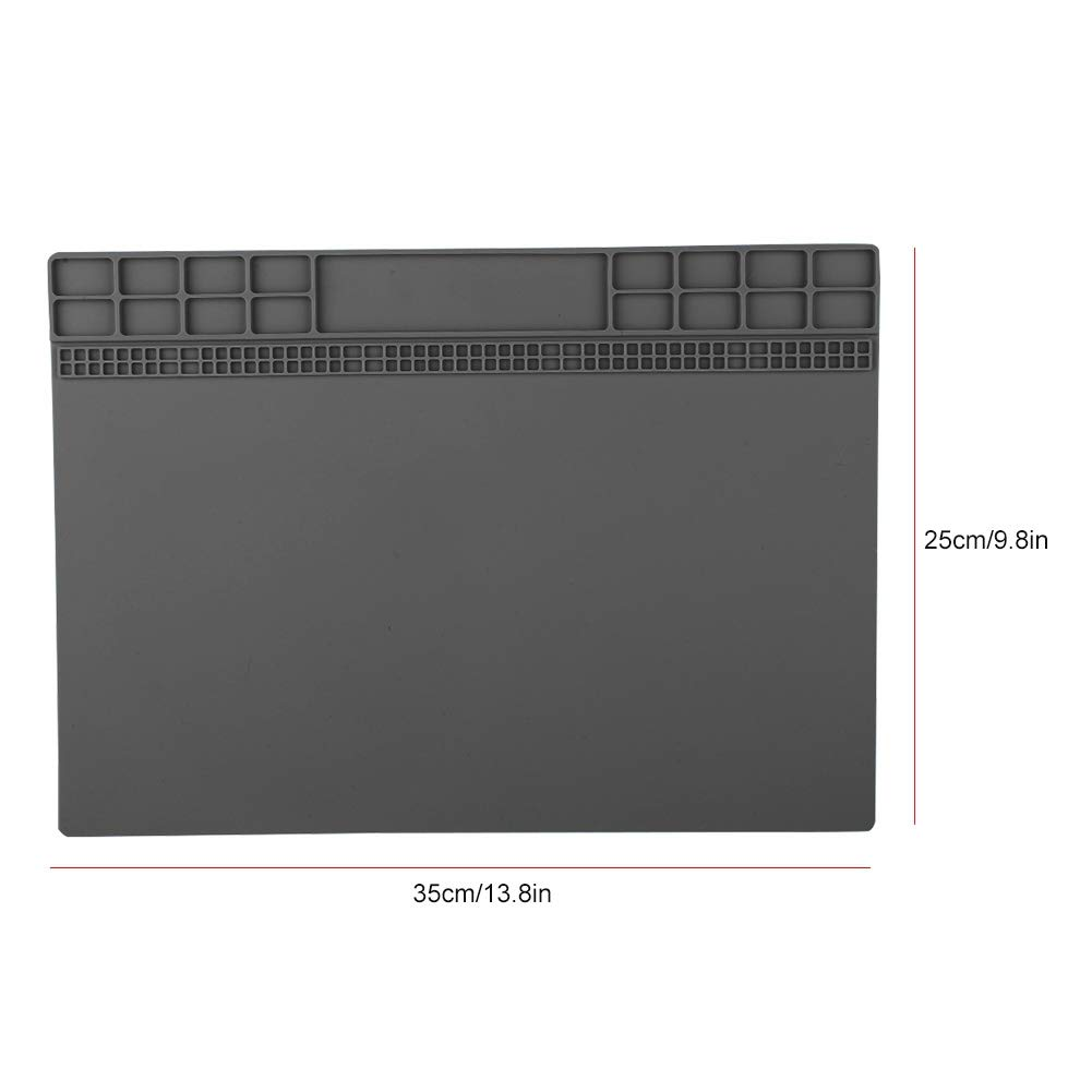 ASHATA 350 Hochtemperatur-Wartungsplattform-Schreibtisch-Matte f/ür Handy und Computer grau 250mm magnetische W/ärmed/ämmung Silikonkissen 500