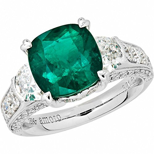 Amoro-18k-White-Gold-Colombian-Emerald-Ring-and-Diamond-Ring-095-cttw-G-H-ColorVS2-SI1-Clarity