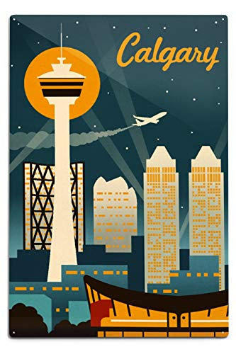 Lantern Press Calgary, Alberta, Canada - Retro Skyline 95739 (12x18 Aluminum Wall Sign, Metal Wall Decor Ready to Hang)