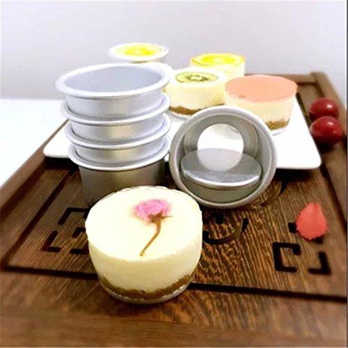 10pcs/lot Aluminum Alloy Round Mini Cake Pan Removable Bottom Pudding Mold Baking Molds Decorating Tools