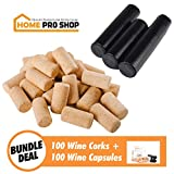 Home Pro Shop Wine Making Supplies Corks & Capsules Kit - Bulk Set of 100 Wooden Corks #9 Italian Style & 100 Wine Bottle Shrink Capsules for Wine-Making & Homemade Crafts - Book Included