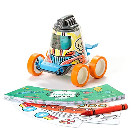 Toyish Award Winning Boys Toys for Toddler & Preschool Kids - Arts & Crafts Racer Car Toy Kit with Coloring Book & Stickers - Boost Creativity & Learning Skills for Age 3 - 8 Year Old (All About Me Art Projects For Toddlers)