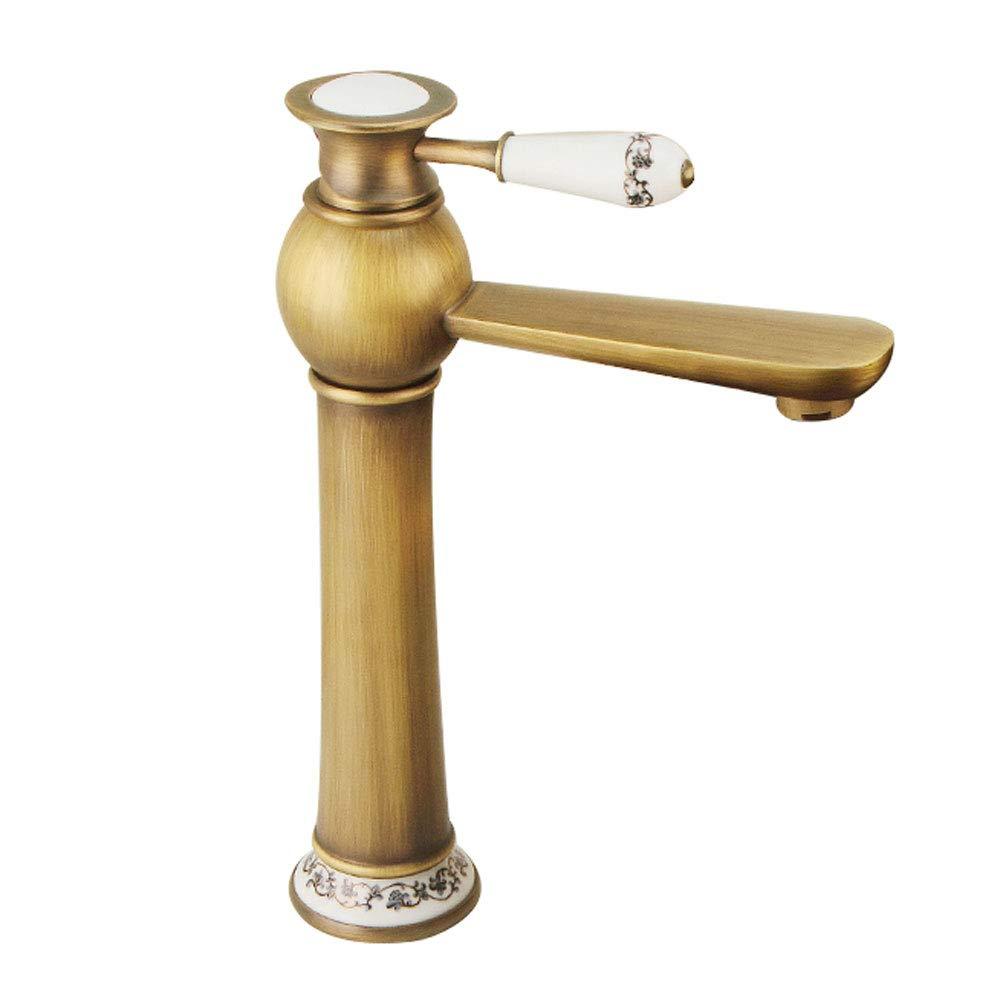 B LIUSHUI Retro Ceramic Decorative Faucet Copper European Hot Cold Water Basin Faucet Antique gold Waterfall Retro Washbasin Faucet Multi-style Optional (Design   A)