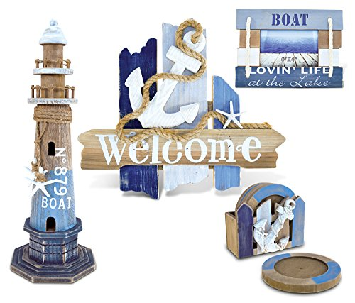 Price comparison product image Puzzled Welcome Sign,  Coasters,  Picture Frame and Lighthouse Handcrafted Wooden Nautical Decor - Lighthouse / Beach / Boats Theme - Set of 4 - Item K9055-9060-9062-9063