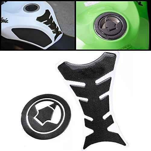 (Tank Protector & Gas Cap Cover Pad Carbon Fiber Pattern fit Kawasaki 07-13 Z750 ZX6R Z1000 06-13 ZX10R ZX14 ZZR1400 Ninja)