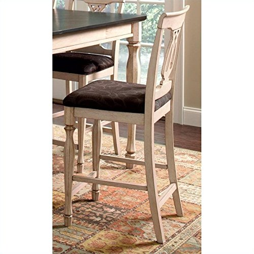 Coaster Home Furnishings Transitional Counter Height Chair, Antique White  And Merlot, Set Of 2