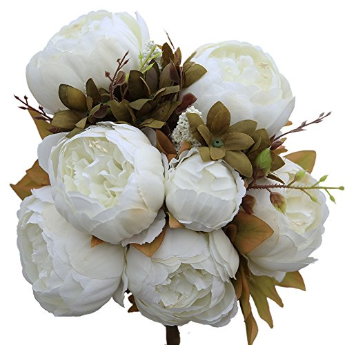Luyue Vintage Artificial Peony Silk Flowers Bouquet, White