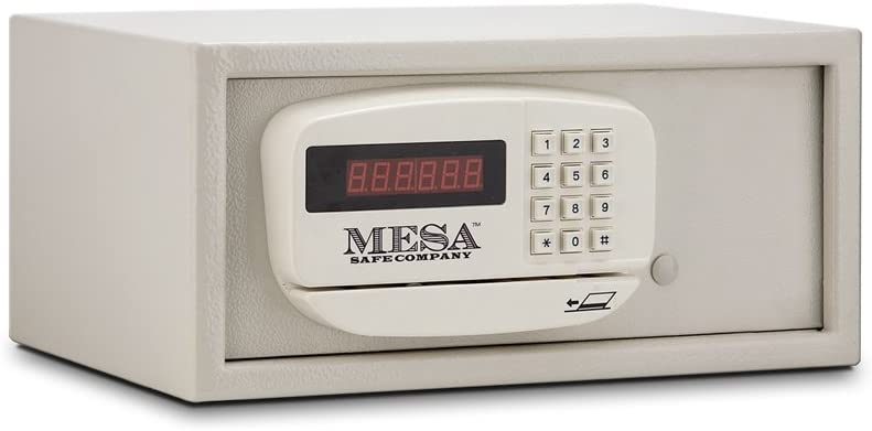 Mesa Safe Company Model MH101 Residential and Hotel Electronic Burglary Safe, Cream - Credit Card Operated Safe -