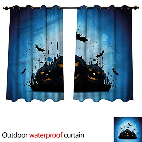 cobeDecor Halloween Outdoor Ultraviolet Protective Curtains Scary Pumpkins in Grass W120 x L72(305cm x 183cm) -