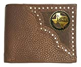 Custom Antique Brass Praying Cowboy Church Bi-fold Wallet Hair on Hide Brown