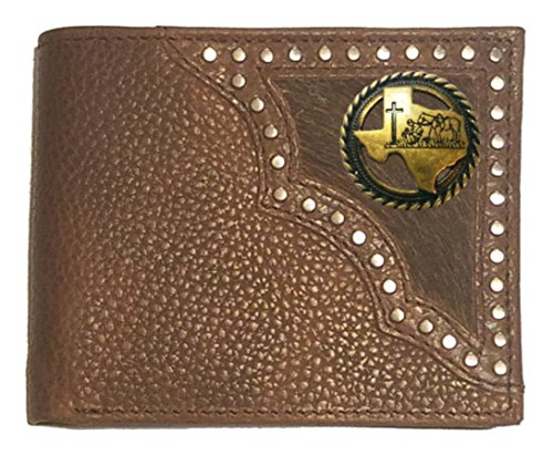 Custom Antique Brass Praying Cowboy Church Bi-fold Wallet Hair on Hide Brown by Genuine Texas Brand
