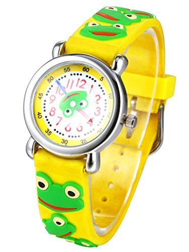 Kid Elastic Strap Adjustable Waterproof Cartoon 3D Analog Watch Learn to Tell Time - Yellow (Friendly Frog Mirror)