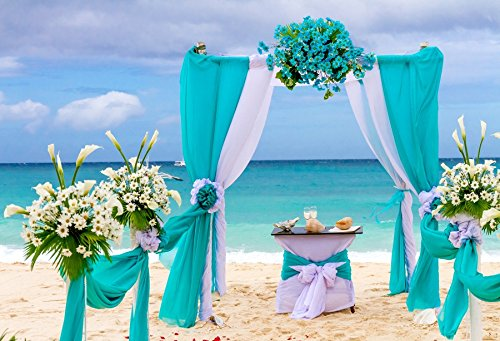 Yeele Wedding Backdrops 12x8ft /3.6 X 2.4M Seaside Beach Bouquet Archway Ceremony Bridal Shower Decoration Wedding Ceremony Outdoor Adult Artistic Portrait Photoshoot Props Photography -