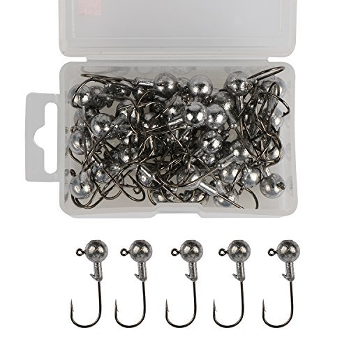 Goture Jig Hooks Set Kit With Fishing Tackle Box Fish Head Hooks (7g 50PCS) - Lead Jig