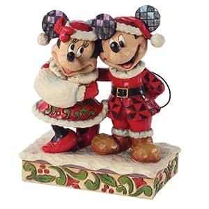 Enesco Disney Tradition - Figurilla de Navidad Mickey Mouse y Minnie, de resina, altura de 16 cm, multicolor