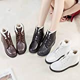 Ninasill Combat Boots Womens Ankle Snow Boots Stylish Winter Shoes High-top Boots Flat Lace Up Boots(White,US : 8)