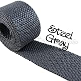 10 Yard Cotton Webbing - 1 1/4 Medium Heavy Weight - Steel Gray