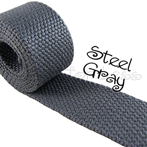 10 Yard Cotton Webbing - 1 1/4 Medium Heavy Weight - Steel Gray by I Craft for Less