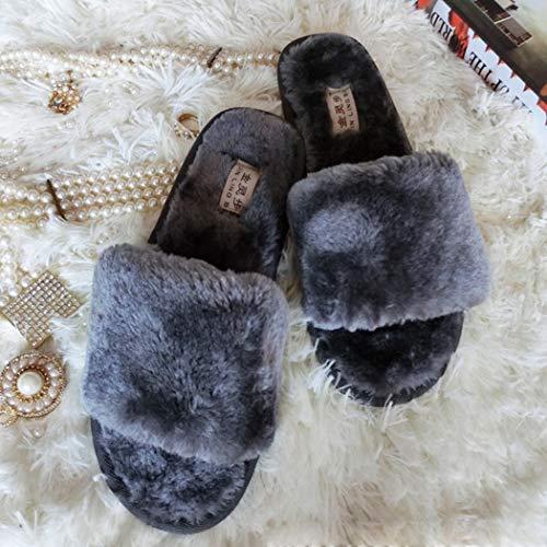 Anti Casual Femmes Hiver Femme Mignon Chaude Fourrure Gris Chaussures Tongs Plat Slip Pantoufles En Chambre Peluche nBqwq4t0O