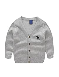 Toddler Kids Unisex Baby V-Neck Solid Color Long Sleeve Button Front Cardigan Sweater