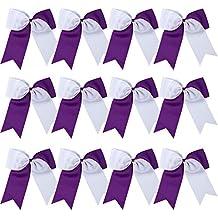 "8"" 2 Colors Jumbo Cheerleader Bows Ponytail Holder Cheerleading Bows Hair 12 Pcs (Purple/White)"