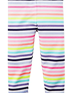 Neon Printed Capri Leggings, Stripe, 12M