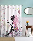 Vinkde Pink Butterfly Girl Floral Dress Flower Fairy Angel Wings Print Waterproof Mildew Resistant Fabric Polyester Shower Curtain Bath Decors 150X180 CM / 60'X72'