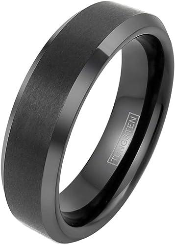 Free engraving* Men/'s Tungsten Carbide Blue IP Brushed Center High Polished Beveled Edge 6mm Wedding Band Promise Ring