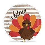Thanksgiving Plate - Brown Stripe Turkey Kids Melamine Personalized Name Plate